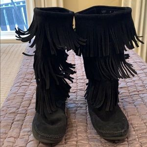 Lightly worn fringe boots